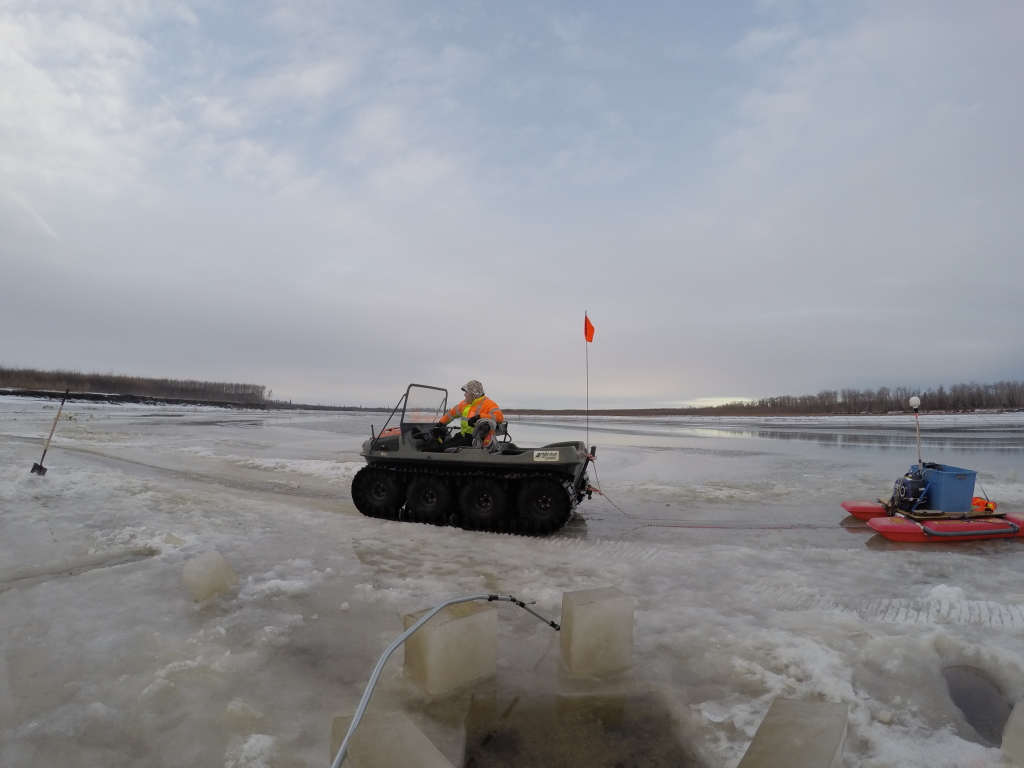 Bethel's SAR member Mark pulling me over the ice.