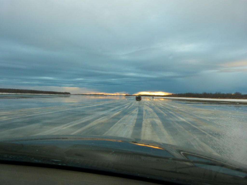 "The ice road now has 2-6"" of water on it"